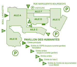 Plan du pavillon des Humanités du Cégep de Trois-Rivières