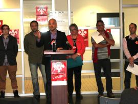 Les représentants des syndicats collégiaux de la Mauricie et la représentante de l'Association générale des étudiants du Cégep de Trois-Rivières.