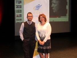 Francis Langlois et Suzanne Jacob lors de la grande conférence.
