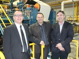 Le directeur des études, Denis Rousseau, le directeur général, Louis Gendron et le directeur d'Innofibre, Mario Parenteau.