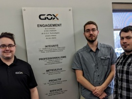 Joël Landry et Francis Mongrain-Therrien du DEC-Bac en informatique ont effectué leur stage chez GOX Technologies à Trois-Rivières